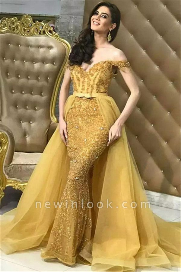 Gold Off Shoulder Mermaid Alluring Formal Dresses | Overskirt Lace Tulle Affordable Cheap Evening Dresses Online