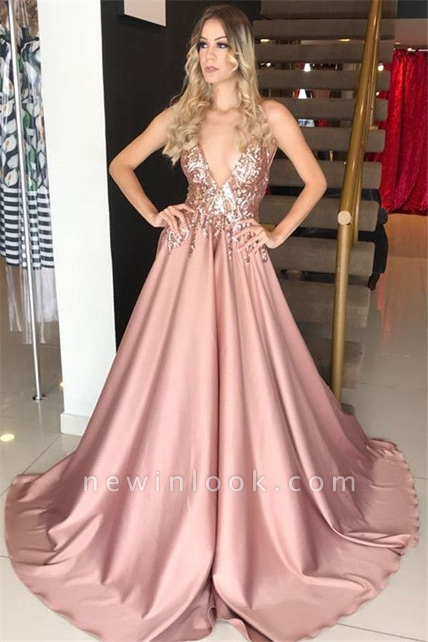 Pink Plunging V-neck Sleeveless Formal Dresses Long | Alluring Sequins Banquet Dresses