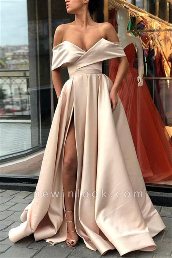Off The Shoulder Alluring Formal Dresses | Stretch Satin Split Long Formal Dresses Affordable BC0775