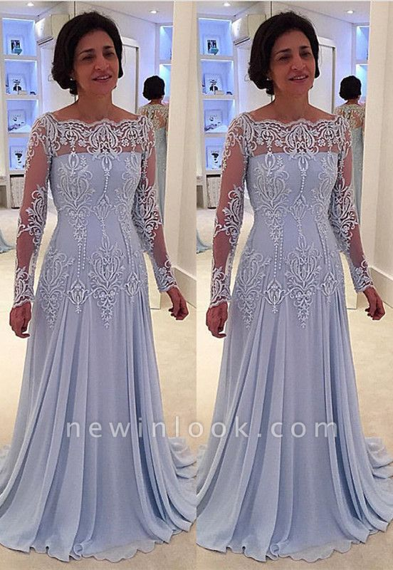 Elegant A-line Lace Long-Sleeve Quinceanera Mother Dress