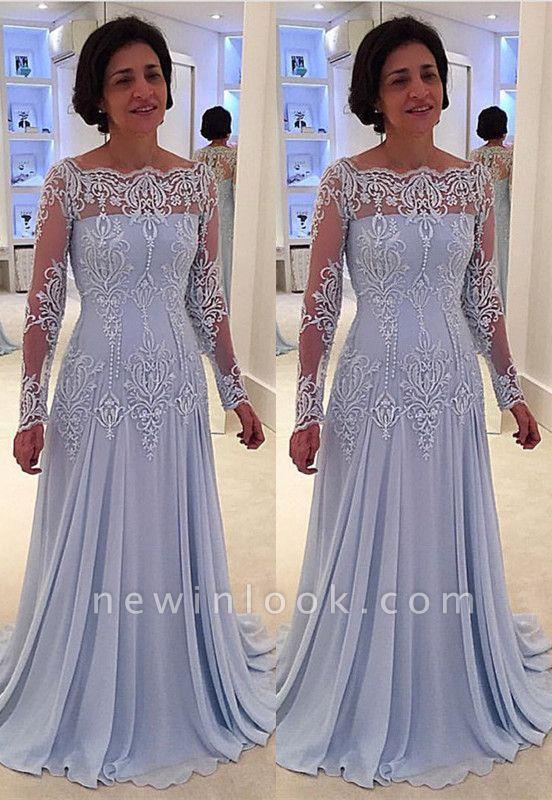 Elegante vestido de la madre de quincea_era | una línea de encaje de manga larga