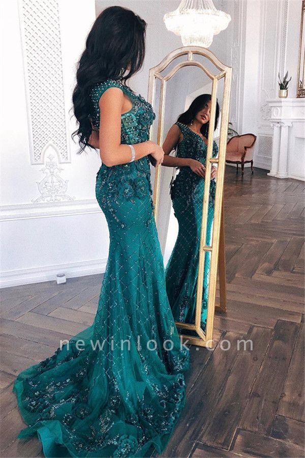Elegant Green Lace Appliques Prom Dreses | Long Sexy V-Neck Sleeveless Mermaid Formal Dresses