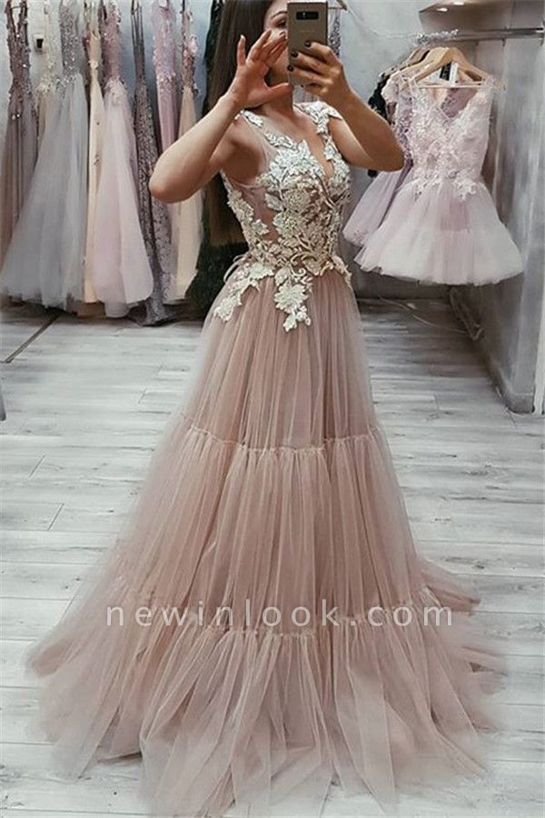 New Arrival Sleeveless Appliques Formal Dresses | Pink Sexy V-Neck Tulle Banquet Dresses Affordable