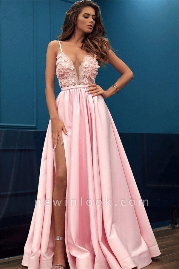 Correas espaguetis vestido de noche sin mangas | Vestido formal con abertura lateral de flores rosadas 2019