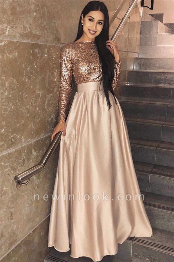 2019 vestido de noche de lentejuelas de manga larga barato | Una línea elegante vestido de fiesta formal