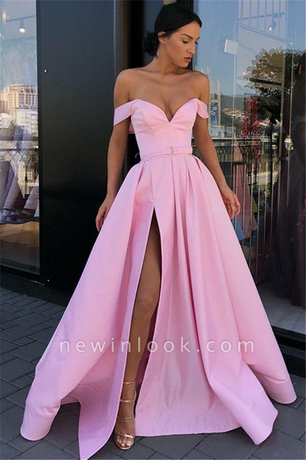 Vestidos de noche sexy rosa fuera del hombro 2019 | A-Linea División delantera vestidos formales largos en línea