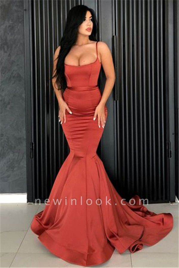 Alluring Mermaid Spaghetti Straps Formal Dresses Affordable | Long Simple Evening Gowns Online
