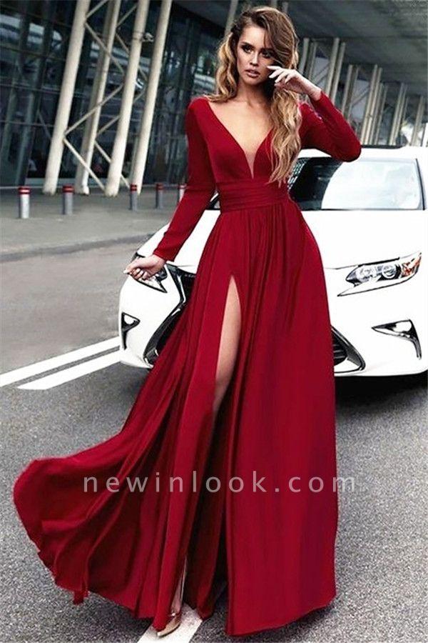 Long Sleeve Burgundy Evening Dress with Side Slit | Sexy V-Neck Open Back Alluring Formal Party Dress Affordable