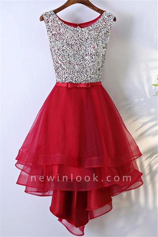 Glamorous Quinceanera Sleeveless Short Dama Dresses | Sequins Red Cheap Dama Dresses Online