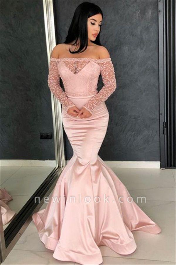 Rosa mangas largas fuera del hombro vestidos de noche | Vestidos de noche de encaje sexy sirena 2019