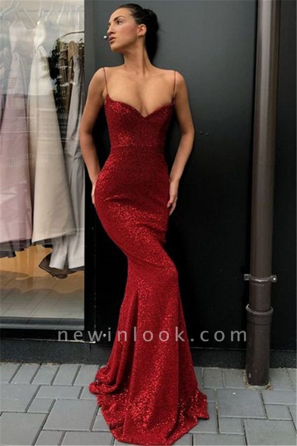 Alluring Simple Sheath Sequins Long Formal Dresses | Affordable Spaghetti Straps Formal Dresses BC0920