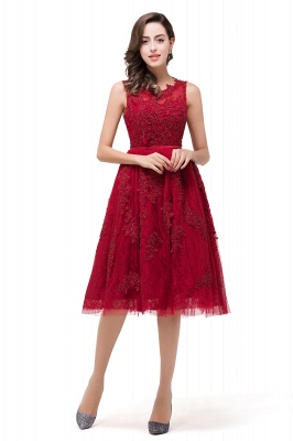DANA | Quinceanera Knee-Length Red Lace Tull Dama Dresses with sequins_1