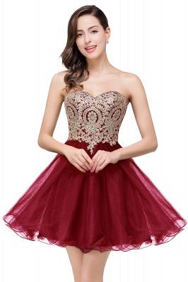 Gabriela | A Line Lace Appliques Sweetheart Short Quince Dama Dresses_1