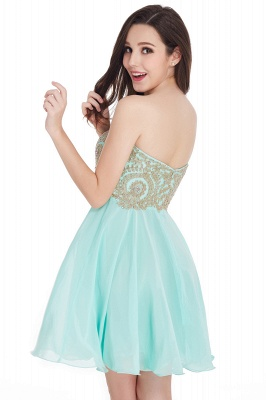 CYNTHIA | Quinceanera Strapless Short Chiffon Dama Dresses with Beadings_11