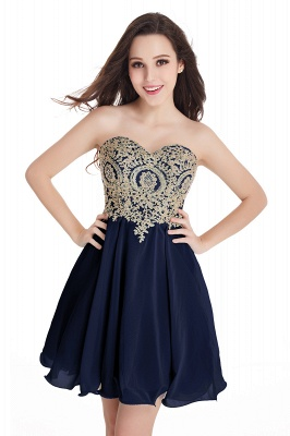 CYNTHIA | Quinceanera Strapless Short Chiffon Dama Dresses with Beadings_8