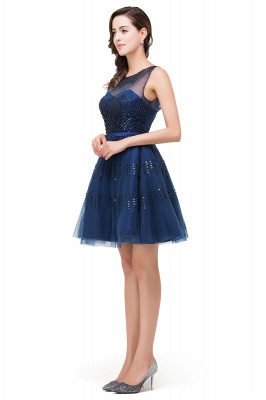 FATIMA | Quinceanera Sleeveless Crew Tulle Appliques Short Dama Dresses_8