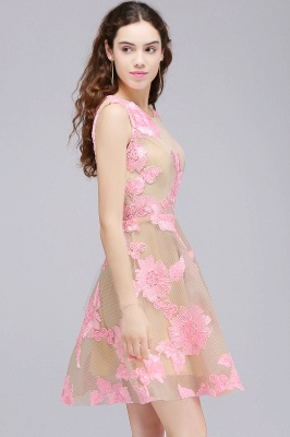 CORDELIA | Princess Knee-length Tulle Quince Dama Dress with Pink Lace Appliques_5