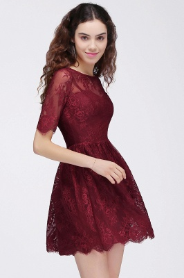 BRITTANY | Quinceanera Round Neck Short Lace Burgundy Dama Dresses_6