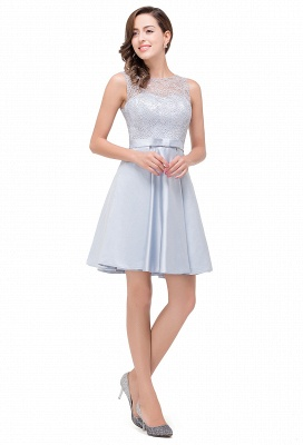 Vestidos de baile cortos de encaje | sin mangas de raso elegante hasta la rodilla_5