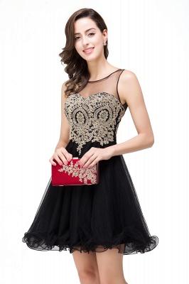 ESTRELLA | Quinceanera Crew Short Sleeveless Appliques Prom Dress_12