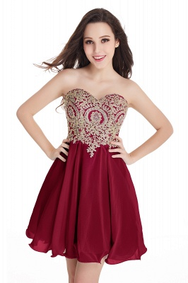 CYNTHIA | Quinceanera Strapless Short Chiffon Dama Dresses with Beadings_3