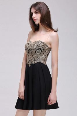 CAITLIN | Quinceanera Short Chiffon Black Dama Dresses with Appliques_11