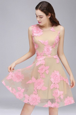 CORDELIA | Princess Knee-length Tulle Quince Dama Dress with Pink Lace Appliques_1