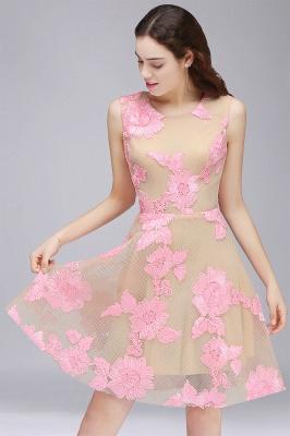 Vestido de fiesta de tul hasta la rodilla | con apliques de encaje rosa_1