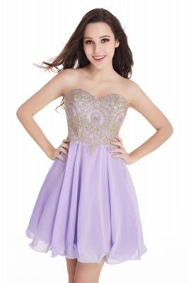 CYNTHIA | Quinceanera Strapless Short Chiffon Dama Dresses with Beadings_6