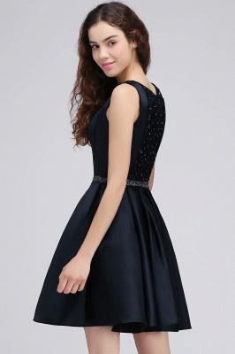 A-Linea cuello redondo vestido de regreso al hogar | con cristal corto oscuro marino elegante_5