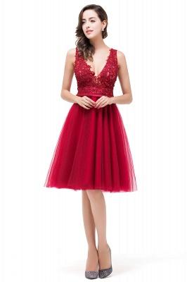 EVIE | Quinceanera Deep-V Neck Sleeveless Short Dama Dresses with Appliques_4