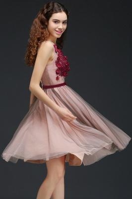 Vestido de fiesta de tul de princesa con cuello en V |  hasta la rodilla con cinturón de amarre_6