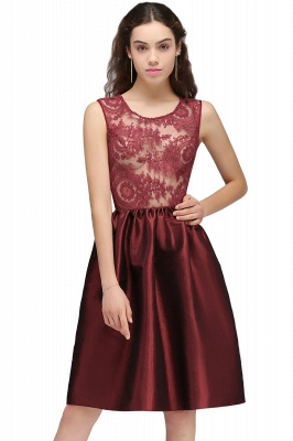 CATALEYA | Quinceanera Jewel Short Taffeta Burgundy Sheer Dama Dresses_1