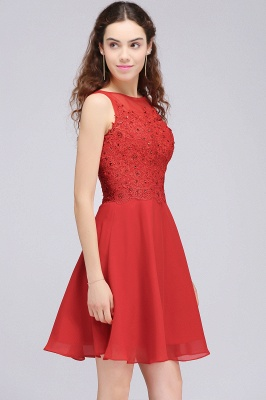 CASEY | Quinceanera Short Chiffon Red Dama Dresses with Lace Appliques_6