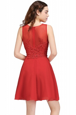CASEY | Quinceanera Short Chiffon Red Dama Dresses with Lace Appliques_3