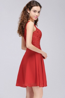 CASEY | Quinceanera Short Chiffon Red Dama Dresses with Lace Appliques_4
