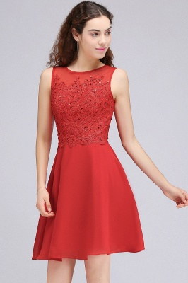 CASEY | Quinceanera Short Chiffon Red Dama Dresses with Lace Appliques_5