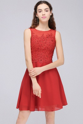CASEY | Quinceanera Short Chiffon Red Dama Dresses with Lace Appliques_7