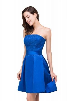 vestidos de dama de honor con apliques | Una línea sin tirantes mini con cordones_6