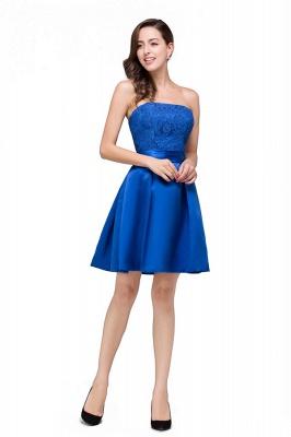 vestidos de dama de honor con apliques | Una línea sin tirantes mini con cordones_4