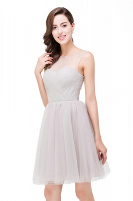 HARLOW | Elegant Quinceanera Crew Mini Silver Dama Dresses With Ruffle_3