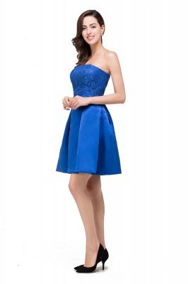 vestidos de dama de honor con apliques | Una línea sin tirantes mini con cordones_7