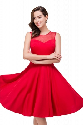 HARMONY | Quinceanera Crew Knee-length Red Dama Dresses_6
