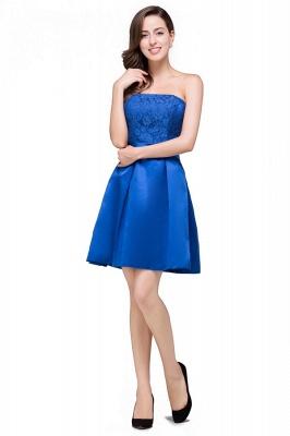 vestidos de dama de honor con apliques | Una línea sin tirantes mini con cordones_3
