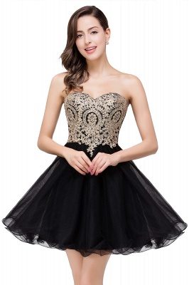 Gabriela | A Line Lace Appliques Sweetheart Short Quince Dama Dresses_6