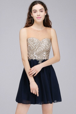 ALIANNA | Sheath Jewel Chiffon Short 15 Quince Dresses With Applique_2