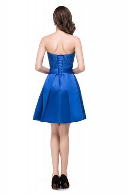vestidos de dama de honor con apliques | Una línea sin tirantes mini con cordones_8