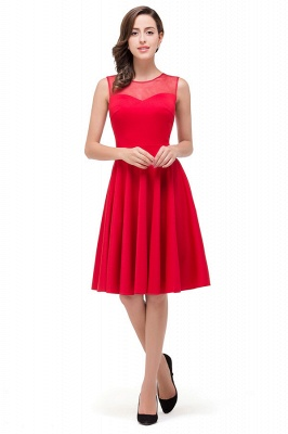 HARMONY | Quinceanera Crew Knee-length Red Dama Dresses_1