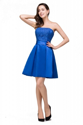vestidos de dama de honor con apliques | Una línea sin tirantes mini con cordones_1