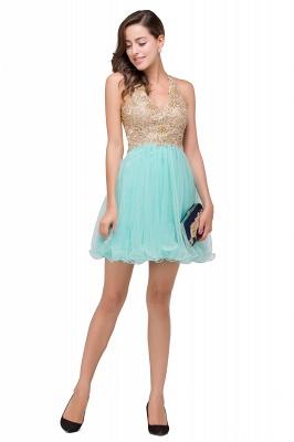 Short Tulle Quinceanera V-Neck Appliques Sleeveless Dama Dresses_9